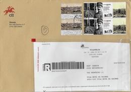 TIMBRES - STAMPS - MARCOPHILIE - LETTRE RECOMMANDÉ - PORTUGAL - TIMBRES PREMIER GUERRE MONDIALE ET VILLE DU PORTO - Guerre Mondiale (Première)