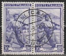 Timbro Tondo Gallicano - Lucca - 24-3-1953 - 20 Lire Coppia, Italia Al Lavoro - 6. 1946-.. Repubblica