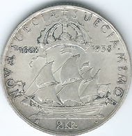 Sweden - Gustav V - 2 Kronor - 1938 (KM807) - 300th Anniversary Of The Founding Of New Sweden (Delaware) - Suède