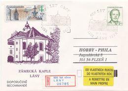I0240 - Tchécoslovaquie (1992) Entires Postaux / Président V. Havel: Lany - Chapelle Du Château (600 Ans De Village) - Architecture