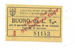 Biglietto Delle Tranvie Di Firenze. ATAF Buono Monetario Da Lire 1 1947 - Tramways