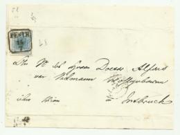 FRANCOBOLLO 9 KREUZER PESTH 1855 SU FRONTESPIZIO - Gebraucht
