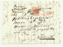 FRANCOBOLLO 3  KREUZER  1852   SU FRONTESPIZIO - Usati