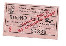 ATAF Biglietto Delle Tranvie Di Firenze. Buono Monetario Da Lire 2 1947 - Tramways