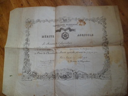 Diplome Merite Agricole 1910 Republique Francaise Croix De Chevalier Ministre Agriculture Illustrée Vache Illustré Signé - Diploma & School Reports