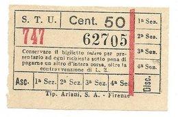 Biglietto Delle Tranvie Di Firenze. STU  Società Trasporti Urbani Centesimi 50 1940 Circa - Tramways