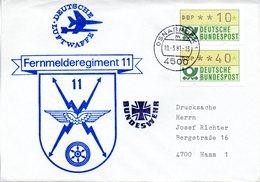 """(BWL) BRD Cachetumschlag Bundeswehr """"Fernmelderegiment 11"""" TSt 10.3.1981 OSNABRÜCK 1 - BRD"""
