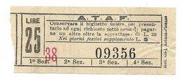 Biglietto Delle Tranvie Di Firenze.  ATAF Lire 25  Anni 50/60 - Tramways