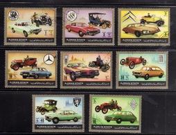 UNITED ARAB EMIRATES AJMAN 1972 OLD VINTAGE CARS AUTO D'EPOCA COMPLETE SET SERIE COMPLETA MNH - Ajman