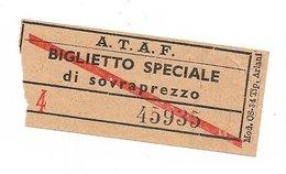 Biglietto Delle Tranvie Di Firenze.  Biglietto Speciale Di Sovrapprezzo  Anni 50/60 - Europa