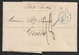 1834 - PARIS Pour GENES ( ETATS SARDES ) - CF4R Correspondence Français 4 Rayon - Jonas Hagerman - Fonds Publique - 1801-1848: Précurseurs XIX