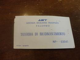 TESSERA DI RICONOSCIMENTO AST PALERMO-1992 - Bus