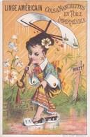 """Chromo 1885 Magasin """"linge Américain En Toile Imperméable Hyatt"""" (japonaise,parapluie) - Autres"""