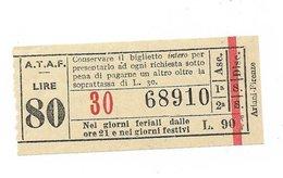 Tranvai Fiorentini. ATAF Lire 80 Anni 50/60 - Tramways