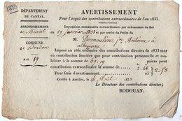 VP14.535 - AURILLAC  X BREDON 1833 - Avertissement ..... - Collections