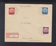 Dt. Reich Besetzung Polen Poland R-Brief Sanok Nach Chemnitz - Besetzungen 1938-45