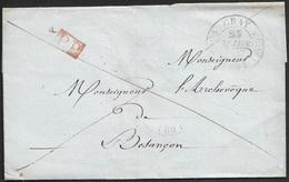 1837 - LSC - GRAY Fleurons Type 11 A Monseigneur Archeveque BESANÇON - P.P En Rouge - 1801-1848: Précurseurs XIX