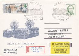 I0241 - Tchécoslovaquie (1992) Entiers Postaux / Président V. Havel: Lany - Tombe T. G. Masaryk (600 Ans De Village) - Châteaux