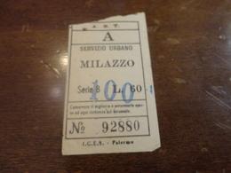 BIGLIETTO  A.S.T. SERVIZIO URBANO MILAZZO-SERIE B LIRE 60 - Bus