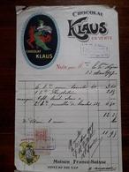 Ancienne Facture. Chocolat Klaus. 1917 - France