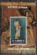 Ajman 1972 Bf. Mitologia Diana Dionisio Villa Misteri Arianna Stabiae Affresco Pompei Sheet Perf. CTO - Non Classificati