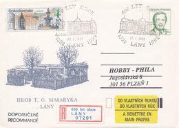 I0241 - Tschechoslowakei (1992) Ganzsachen / Präsident V. Havel: Lany - Grab T. G. Masaryk (600 Jahre Dorf) - Schlösser U. Burgen