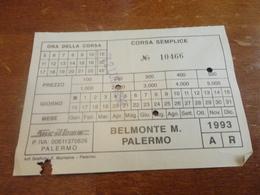 BIGLIETTO SICILBUS - BELMONTE M. PALERMO  GIORNALIERO-1993 CORSA SEMPLICE - Bus