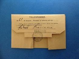 1940 REGNO D'ITALIA TELEGRAMMA PUBBLICITÀ BENZINA VICTORIA FIERA LEVANTE BARI RABARBARO ZUCCA TESSILE SNIAFIOCCO - Advertising