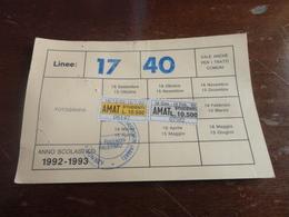TESSERA ABBONAMENTO MENSILE AMAT  PALERMO- MARCHE-1992 - Bus
