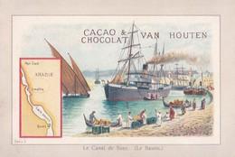 "Vers 1900 ""cacao Van Houten"" Bateau Bassin Canal De Suez (Arabie,Egypte) - Van Houten"