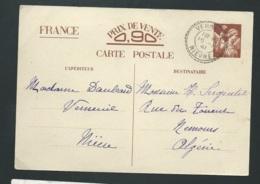 ENTIER CP1 - Prix De Vente 0,90  Obli. Bureau De Distribution  Verneuil / Nievre En Janv 1941 Pour L'algérie    Lx3211 - Marcophilie (Lettres)