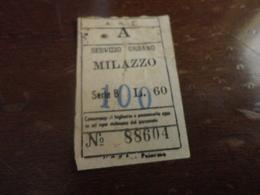 BIGLIETTO SERVIZIO URBANO MILAZZO-LIRE 60 SOPRASTAMPATO LIRE 100 - Bus