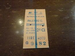 BIGLIETTO TRENO  ALTAVILLA MILICIA - PALERMO CENTRALE-1992 - Chemins De Fer