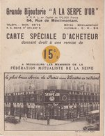 PARIS XX : Grande Bijouterie . A LA SERPE D'OR . 54 , Rue De Ménilmontant . - Publicités