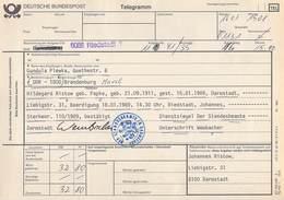 Telegramm Deutsche Bundespost 6086 Riedstadt-DDR 1800 Brandenburg (Havel) 1989 - BRD
