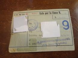 TESSERA A.T.M. MESSINA-DA STAZIONE CENTRALE A GIAMPILIERI SUPERIORE-1977 - Bus