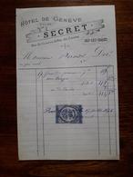 Ancienne Facture. Aix Les Bains. Hotel De Geneve. Secret. Avec Timbre. 1878 - France