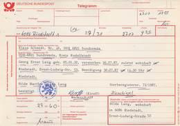 Telegramm Deutsche Bundespost 6086 Riedstadt-DDR 6821 Sundrema Kr.Rudolstadt 1987 - BRD