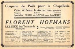 1928 - LEBBEKE-lez-TERMONDE - Couperie De Poils Pour La Chapellerie - Florent Hofmans - Dim. 1/2 A4 - Pubblicitari