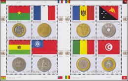UNO Genf 565-572 Flaggen Und Münzen II 2007, Kleinbogen Mit Zwischensteg ** - Genf - Büro Der Vereinten Nationen