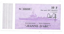 DT 63 - BILLET DE BORD PH JEANNE D'ARC - MARINE NATIONALE (NEUF- Année 1980 1981 - France