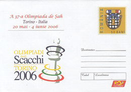 GAMES, CHESS, TORINO CHESS OLYMPIAD, COVER STATIONERY, 2006, ROMANIA - Schaken