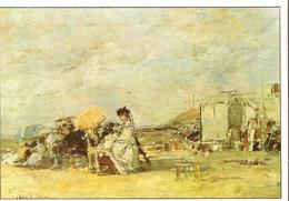Art Peinture Carte Edito Service Le Culte De La Nature BOUDIN Eugène Dame En Blanc Sur La Plage De Trouville - 146 - Malerei & Gemälde