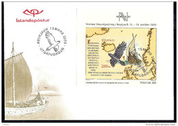 Iceland 2003 - Block - Bird - Ship - International Stamp Exhibition NORDIA '03 - Reykjavik, Iceland   FDC - 1944-... Republique