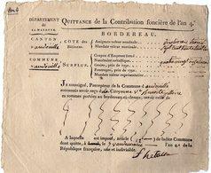 VP14.553 -  ANDOUILLE  An 4 - Contribution Foncière - Quittance - Collections