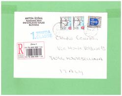 2008 SLOVESKO RACCOMANDATA AFFRANCATA 3 FRANCOBOLLI - Storia Postale
