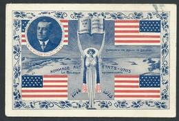 """+++ CPA - Militaria - Hommage Aux Etats Unis - Guerre 1914-15 - """"La Belgique Reconnaissante"""" - W.Rockfeller   // - Patriottiche"""