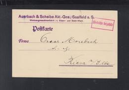 Dt. Reich PK 1923 Saalfeld Gebühr Bezahlt - Briefe U. Dokumente
