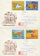 UNGARN 1982 - Reko Schmuckbrief Mit  MiNr: 3580-3586 Komplett 4 Briefe - Ungarn