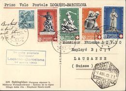 Suisse Primo Volo Postale Locarno Barcelona 1 Volo Postale Swissair 1 Aprile 1940 YT 349 350 351 353 290 Croix Rouge - Poste Aérienne